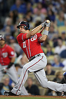 Washington Nationals third baseman Ryan Zimmerman #11 bats against the Los Angeles Dodgers at Dodger Stadium on July 23, 2011 in Los Angeles,California. Los Angeles defeated Washington 7-6.(Larry Goren/Four Seam Images)