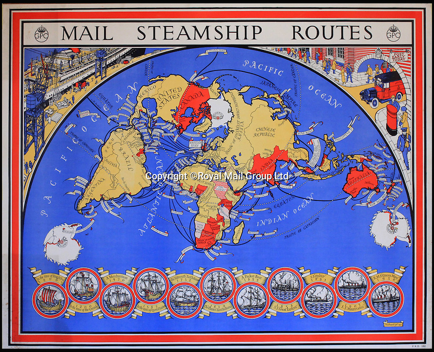 BNPS.co.uk (01202 558833)<br /> Pic: RoyalMailGroup/BNPS<br /> <br /> MacDonald Gill (1884-1947) Mail Steamship Routes, GPO poster PRD. Estimate: &pound;800-&pound;1200<br /> <br /> A one-of-a-kind sale of rare vintage posters could net the Post Office &pound;40,000 to put towards the building of a new museum dedicated to the service.<br /> <br /> In a bid to raise funds for the new British Postal Museum, curators sifted through the Royal Mail archives to find duplicates of advertising posters dating back to the 1930s that they could sell at auction.<br /> <br /> The resulting collection of more than 150 original posters are now going under the hammer at Onslows Auctions in Blandford, Dorset, in a sale the likes of which has never been held before.<br /> <br /> The proceeds will go towards the building of the new museum in Camden, London, which will feature part of the old Post Office Underground Railway - the Mail Rail - as a heritage attraction.