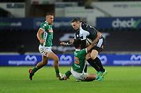 George North of Ospreys is tackled by Marco Zanon of Benetton Treviso during the Guinness Pro14 Round 4 match between the Ospreys and Benetton Rugby at the Liberty Stadium in Swansea, Wales, UK. Saturday 22 September 2018