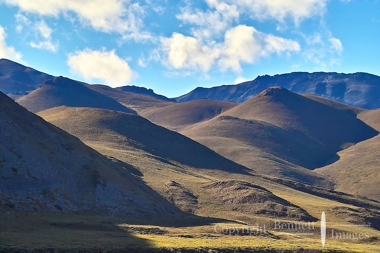 These rounded hills dominate the views in the lower reaches of the Marsh Fork of the Canning River, in Alaska's Arctic National Wildlife Refuge.