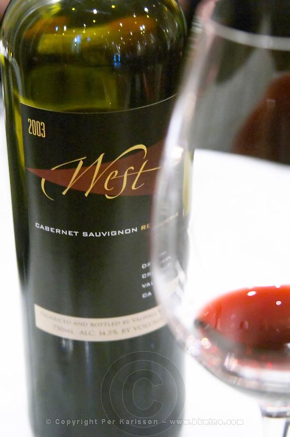 Bottle of West Cabernet Sauvignon 2003 wine from Valhall vineyards, a wine tasting glass. Stockholm. Sweden, Europe.