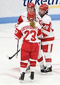 Isabel Menard (BU - 20), Sarah Bayersdorfer (BU - 23), Louise Warren (BU - 28) - The Boston University Terriers defeated the visiting Union College Dutchwomen 6-2 on Saturday, December 13, 2012, at Walter Brown Arena in Boston, Massachusetts.