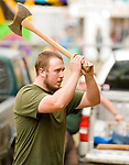 RIVERTON , CT-101517JS02-- Matt Squires of Warren competes in the axe throwing event in the lumberjack competition Sunday on the final day of the 108th Riverton Fair on Sunday. Squires place second in the axe throwing, took first place in the bowsaw category and first past in the cross cut category with partner Harv Gereg of Warren. Squires also was this years recipient of the Spirit of the Sport award. <br /> Jim Shannon Republican-American