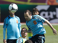 EURO 2012 - POLAND - Gniewino - 13 JUNE 2012 - Spain National Team official MD-1 training. Spanish midfielder Andres Iniesta.