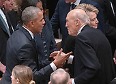 former United States President Barack Obama and former US Senator Alan Simpson (Republican of Wyoming) converse prior to the National funeral service in honor of the late former US President George H.W. Bush at the Washington National Cathedral in Washington, DC on Wednesday, December 5, 2018.<br /> Credit: Ron Sachs / CNP<br /> (RESTRICTION: NO New York or New Jersey Newspapers or newspapers within a 75 mile radius of New York City)