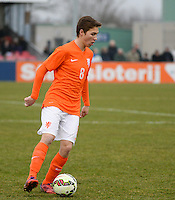 20150314 - GENDT , NETHERLANDS  : Dutch Carel Eiting pictured during the soccer match between Under 17 teams of  The Netherlands and Northern Ireland , on the second matchday in group 3 of the UEFA Elite Round Under 17 at De Bataven Stadion , Gendt , The Netherlands . Saturday  14 th March 2015 . PHOTO DAVID CATRY
