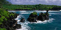 Rocky Islets and Coastline, Waianapanapa State Park, Hana, Maui, Hawaii, USA.