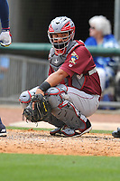 Frisco RoughRiders catcher Jose Trevino (3) in action during a game against the Northwest Arkansas Naturals at Arvest Ballpark on May 24, 2017 in Springdale, Arkansas.  The RoughRiders defeated the Naturals 7-6 in the completion of the game suspended on May 23, 2017.  (Dennis Hubbard/Four Seam Images)