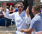 Gregg Carano jokes around with Tony Marini during the Great Eldorado BBQ, Brews and Blues Festival in Reno, Nevada on Saturday, June 16, 2018.