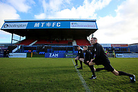 Match officials warm up during Macclesfield Town vs Kingstonian, Emirates FA Cup Football at the Moss Rose Stadium on 10th November 2019