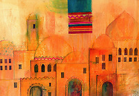 Illustration of Moroccan architecture and textile