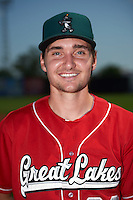 Great Lakes Loons pitcher Michael Boyle (22) poses for a photo before a game against the Clinton LumberKings on August 16, 2015 at Ashford University Field in Clinton, Iowa.  Great Lakes defeated Clinton 3-2 in ten innings.  (Mike Janes/Four Seam Images)