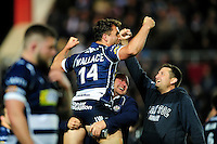 Jack Wallace of Bristol Rugby celebrates promotion at the final whistle. Greene King IPA Championship Play-off Final (second leg), between Bristol Rugby and Doncaster Knights on May 25, 2016 at Ashton Gate Stadium in Bristol, England. Photo by: Patrick Khachfe / JMP