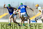 Jordan Conway and Padraig Boyle Kerry in action against Michael Cleary Offaly in the National Hurling League in Austin Stack Park, Tralee on Sunday.
