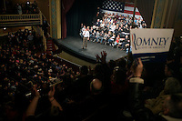 Former Massachusetts governor Mitt Romney speaks from the stage at a Mitt Romney town hall meeting and rally at the Rochester Opera House in Rochester, New Hampshire, on Jan. 8, 2012. Romney is seeking the 2012 Republican presidential nomination.