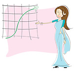 Businesswoman showing graph of growth