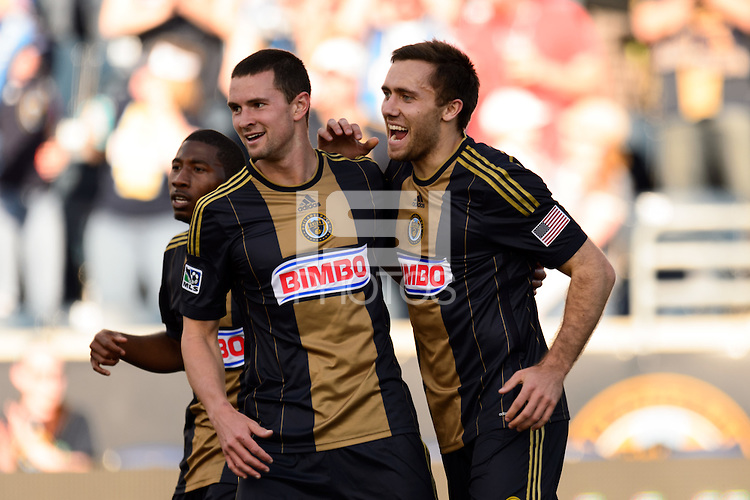Andrew Wenger (9) of the Philadelphia Union celebrates scoring with Austin Berry (4). Real Salt Lake and the Philadelphia Union played to a 2-2 tie during a Major League Soccer (MLS) match at PPL Park in Chester, PA, on April 12, 2014.