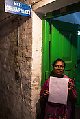 Sister Karuna Masih poses for a photo outside the Karuna Project office in Duncan Hospital in Raxaul, Bihar, India.