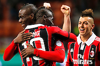 "Esultanza dopo il goal Mario Balotelli Milan, Mbaye Niang, goal celebration, Milano 3/2/2013 .Stadio ""S.Siro"".Football Calcio 2012/2013 Serie A.Milan Vs Udinese.Foto Marco Bertorello Insidefoto"