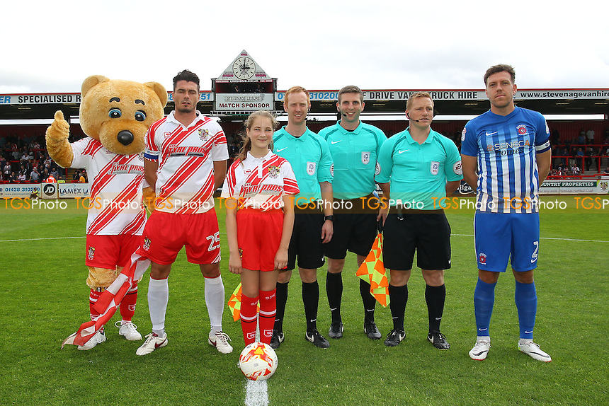 Pre-match line up during Stevenage vs Hartlepool United, Sky Bet EFL League 2 Football at the Lamex Stadium on 3rd September 2016