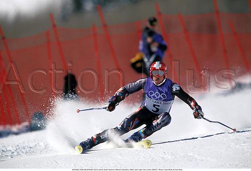 MICHAEL VON GRUENIGEN (SUI), Mens Giant Slalom, Winter Olympics 2002, Salt Lake City, Utah, 020221. Photo: Glyn Kirk/Action Plus...2002.skiing ski skier skiers.alpine.winter sport sports wintersport wintersports.olympic games