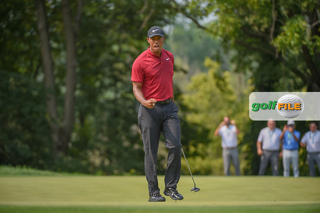 Tiger Woods (USA) celebrates his birdie putt on 9 during 4th round of the 100th PGA Championship at Bellerive Country Club, St. Louis, Missouri. 8/12/2018.<br /> Picture: Golffile | Ken Murray<br /> <br /> All photo usage must carry mandatory copyright credit (© Golffile | Ken Murray)