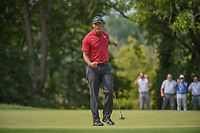 Tiger Woods (USA) celebrates his birdie putt on 9 during 4th round of the 100th PGA Championship at Bellerive Country Club, St. Louis, Missouri. 8/12/2018.<br /> Picture: Golffile | Ken Murray<br /> <br /> All photo usage must carry mandatory copyright credit (&copy; Golffile | Ken Murray)