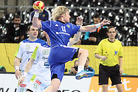 12.01.2013 Barcelona, Spain. IHF men's world championship, Quarter-Final. Picture show Pavel Atman in action during game between Russia vs Slovenia at Palau ST Jordi