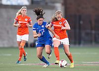 Allston, Massachusetts - August 17, 2014:  The Boston Breakers (blue) defeated the Houston Dash (orange), 1-0 in a National Women's Soccer League Elite (NWSL) match at Harvard Stadium.