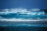 Storming weather and large waves on Kauai's north shore