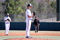 CARY, NC - FEBRUARY 23: Hutch Gagnon #28 of Penn State University stands on the mound during a game between Wagner and Penn State at Coleman Field at USA Baseball National Training Complex on February 23, 2020 in Cary, North Carolina.