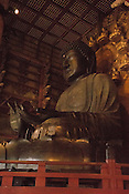 Daibutsu of Nara; the world's largest bronze statue of Buddha, Vairocana. Photos contains high levels of noise due to the very low light in the room.