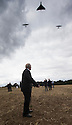 21/08/14 <br /> <br /> The last surviving British dambuster, George 'Johnny' Johnson (91) watches as two Avro Lancasters and an Avro Vulcan fly over a turf cutting ceremony where the International Bomber Command Centre will be begin construction overlooking Lincoln.<br /> <br /> All Rights Reserved - F Stop Press.  www.fstoppress.com. Tel: +44 (0)1335 300098