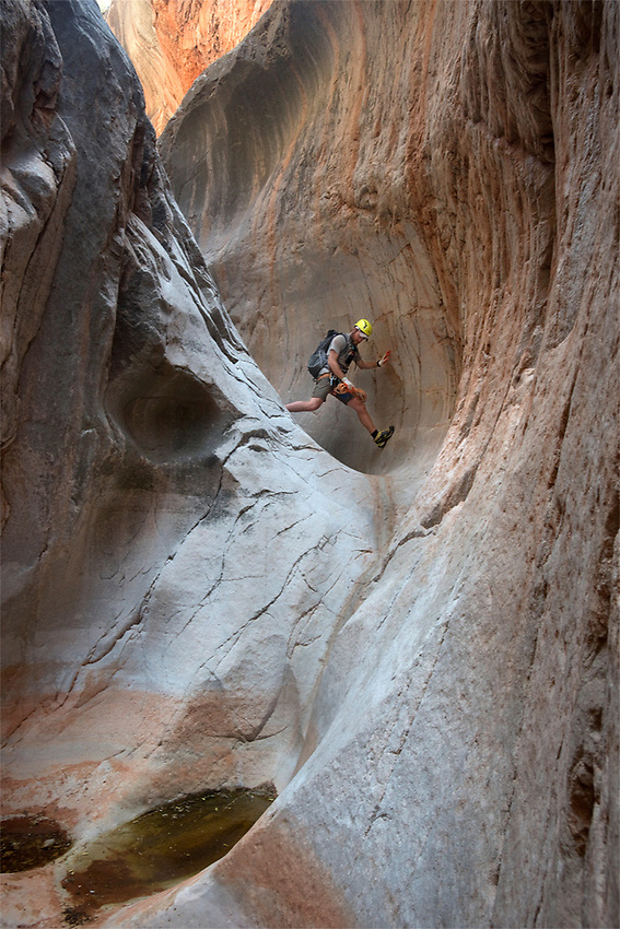Look Ma, No Rope!  Chris Atwood lithely descends a slot canyon tucked away far within western Grand Canyon. There are endless hidden treasures and delightful surprises tucked within the folds of Grand Canyon. What will you find next?
