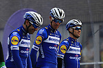Deceuninck-Quick Step on stage at sign on before the 2019 Gent-Wevelgem in Flanders Fields running 252km from Deinze to Wevelgem, Belgium. 31st March 2019.<br /> Picture: Eoin Clarke | Cyclefile<br /> <br /> All photos usage must carry mandatory copyright credit (© Cyclefile | Eoin Clarke)