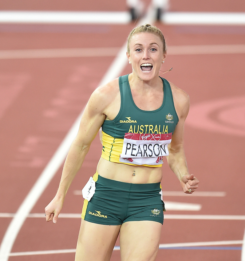 Australia's Sally Pearson celebrates winning gold in the women's 100m hurdles<br /> <br /> Photographer Chris Vaughan/CameraSport<br /> <br /> 20th Commonwealth Games - Day 9 - Friday 1st August 2014 - Athletics - Hampden Park - Glasgow - UK<br /> <br /> &copy; CameraSport - 43 Linden Ave. Countesthorpe. Leicester. England. LE8 5PG - Tel: +44 (0) 116 277 4147 - admin@camerasport.com - www.camerasport.com