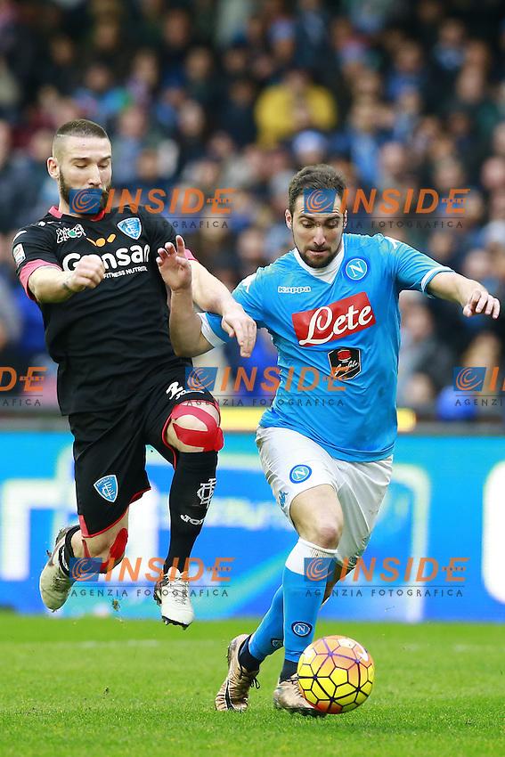 Tonelli Lorenzo Empoli, Gonzalo Higuain Napoli,  <br /> Napoli 31-01-2016 Stadio San Paolo<br /> Football Calcio Serie A 2015/2016 Napoli - Empoli<br /> Foto Cesare Purini / Insidefoto