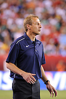 United States head coach Jurgen Klinsmann watches the build up to the US goal. The men's national teams of the United States (USA) and Mexico (MEX) played to a 1-1 tie during an international friendly at Lincoln Financial Field in Philadelphia, PA, on August 10, 2011.