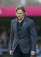 A Frustrated Wycombe Wanderers Manager Gareth Ainsworth during the Sky Bet League 2 match between Wycombe Wanderers and Leyton Orient at Adams Park, High Wycombe, England on 23 January 2016. Photo by Andy Rowland / PRiME Media Images.