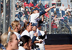 March 23, 2012:   Nevada Wolf Pack bench cheers after a double against the Fresno State Bulldogs during their NCAA softball game played at Christina M. Hixson Softball Park on Friday in Reno, Nevada.