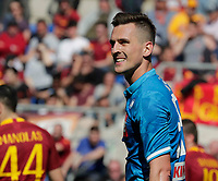Arkadiusz Milik of Napoli   during the  italian serie a soccer match, AS Roma -  SSC Napoli       at  the Stadio Olimpico in Rome  Italy , March 31, 2019