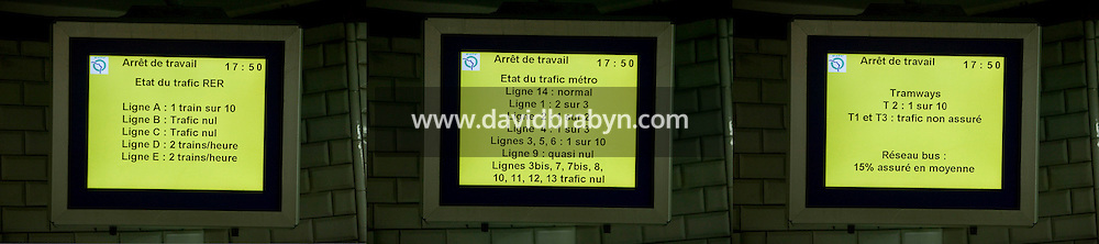 Image combination of different pages on the same screen informing travellers of disruptions in the subway, tram and RER service in Paris, France, 14 November 2007. A widespread strike paralysed much of the country's public transit system as workers from certain sectors protested the reform of their favored retirement plans.