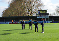 Wycombe Wanderers players check the pitch before the Sky Bet League 2 match between AFC Wimbledon and Wycombe Wanderers at the Cherry Red Records Stadium, Kingston, England on 21 November 2015. Photo by Alan  Stanford/PRiME.