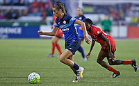 Portland, Oregon - Saturday July 9, 2016: FC Kansas City midfielder Mandy Laddish (7) controls the ball during a regular season National Women's Soccer League (NWSL) match at Providence Park.