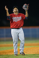 Elizabethton Twins relief pitcher Onesimo Hernandez (47) reacts after getting the final out in the bottom of the 11th inning against the Kingsport Mets at Hunter Wright Stadium on July 9, 2015 in Kingsport, Tennessee.  The Twins defeated the Mets 9-7 in 11 innings. (Brian Westerholt/Four Seam Images)
