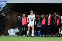 CHAPEL HILL, NC - NOVEMBER 16: Rachel Vernon #21 of Belmont University holds the ball during a game between Belmont and North Carolina at UNC Soccer and Lacrosse Stadium on November 16, 2019 in Chapel Hill, North Carolina.