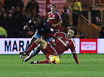 Lucas Joao of Sheffield Wednesday tussles with Diego Fabbrini of Middlesbrough - Sky Bet Championship - Middlesbrough vs Sheffield Wednesday - Riverside Stadium - Middlesbrough - England - 28th of December 2015 - Picture Jamie Tyerman/Sportimage