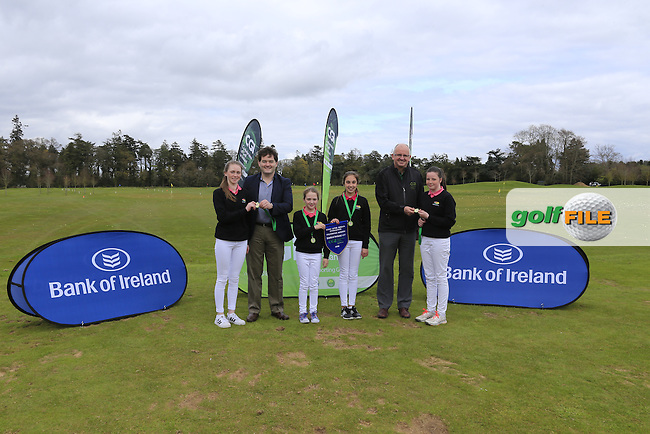 Gavin Kelly Bank Of Ireland and Justin O'Byrne CGI present Connacht regional finalist Enniscrone Golf Club with there medals and pendant at the national finals of the Dubai Duty Free Irish Open Skills Challenge supported by Bank of Ireland in conjunction with CGI at the GUI National Golf Academy, Carton House, Maynooth, Co Kildare. 24/04/2016.<br /> Picture: Golffile | Fran Caffrey<br /> <br /> <br /> All photo usage must carry mandatory copyright credit (&copy; Golffile | Fran Caffrey)