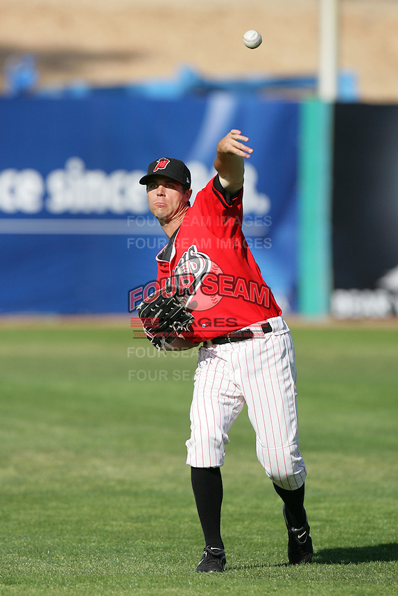 April 18, 2010: Jake Shaffer of the High Desert Mavericks during game against the Lake Elsinore Storm at Mavericks Stadium in Adelanto,CA.  Photo by Larry Goren/Four Seam Images