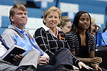 14 November 2014: UNC head coach Sylvia Hatchell (center) with assistants Andrew Calder (left) and Ivory Latta (right). The University of North Carolina Tar Heels hosted the Howard University Bison at Carmichael Arena in Chapel Hill, North Carolina in a 2014-15 NCAA Division I Women's Basketball game. UNC won the game 83-49.